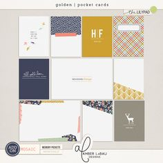 Golden | Digital pocket cards provided in both orientations with and without bleed, as well as PDF files for easy at-home printing to use in your Project Life albums.