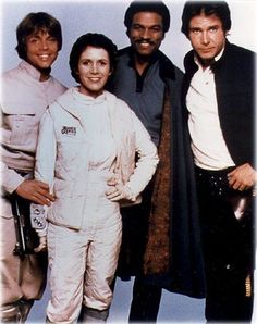 Harrison Ford as Han Solo, Billy Dee Williams as Lando Calrissian, Carrie Fisher as Princess Leia and Mark Hamill as Luke Skywalker from Star Wars The Empire Strikes Back