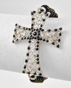 Black Cross Stretch Bracelet