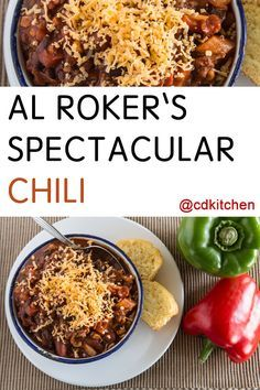 You may know Al Roker from television, but what he's really famous for is his spectacular chili. It's made with a combination of chuck steak, hot italian sausage, and three kinds of beans. Best Chili Recipe, Chilli Recipes, Italian Recipes, Beef Recipes, Soup Recipes, Cooking Recipes, Steak Chili Recipe, Al Roker Chili Recipe, Chili Con Carne
