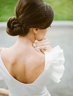 Bride's chignon bun bouffant with crown braid bridal hair ideas Toni Kami Wedding Hairstyles ♥ ❶ Bridal Updo, Wedding Updo, Wedding Bride, Wedding Knot, Braided Hairstyles For Wedding, Pretty Hairstyles, Woman Hairstyles, Hairstyle Ideas, Updo Hairstyle