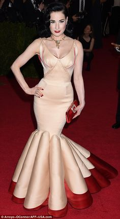 perfection!!!!!!!In the nude: While they have very different shapes, Dita Von Teese (L), in Zac Posen, and Kendall Jenner, who wore Topshop, wore nude fishta...