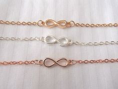 "* Infinity bracelet - available in 3 colors - gold, rose gold and silver * Length: adjustable (5 - 8 inches) * Pendant size: 1"" long * Will ship within 2-3 business days (from US) * Great gift ideas -"