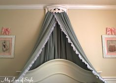 DIY Bed Crown Using Hobby Lobby Shelf Tension Rod And Sheer - Canopy idea bed crown