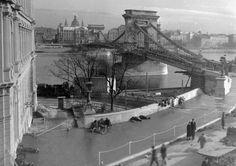 Chain Bridge #Budapest in 1949 #Hungary