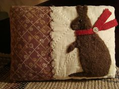 Primitive Rabbit On Quilt Pillow