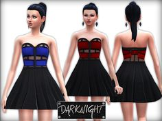 Leather Strapless Dress by DarkNighTt at TSR via Sims 4 Updates