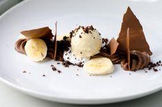 Valrhona Manjari Budino, Marshmallow Fluff, Graham Cracker Ice Cream, Bananas, and Dehydrated Chocolate Mousse