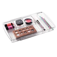 mDesign Expandable Cosmetic Drawer Organizer for Vanity Cabinet to Hold Makeup Beauty Products  Clear *** For more information, visit image link.