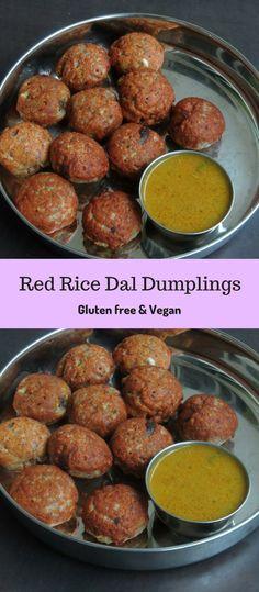 Red Rice Dal Dumplings/Sivappu Arisi Paruppu Paniyaram