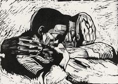"""Two Dead"", 1919, woodcut by Käthe Kollwitz (July 8, 1867–April 22, 1945). Tags: Linocut, Cut, Print, Linoleum, Lino, Carving, Block, Woodcut, Helen Elstone, Human, Sorrow, Despair, Loss, Death."