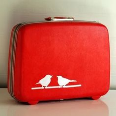 painted old hard-shell suitcase!