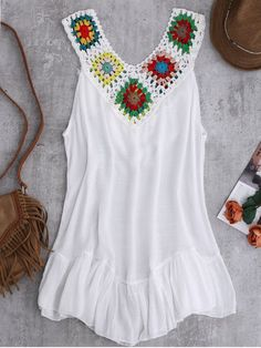 Crochet Yoke Cover-Up Tank Dress WHITE: Cover Ups | ZAFUL