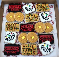 Stranger Things theme for a birthday celebration! I had fun decorating these sugar cookies! Thank you for choosing Cristin's Cake Creations for your custom cookie order! Taste and see that the Lord is good! Stranger Things Theme, Stranger Things Funny, Stranger Things Netflix, Stranger Things Season, Stranger Things Christmas, 11th Birthday, Birthday Celebration, Birthday Parties, Photos Des Stars