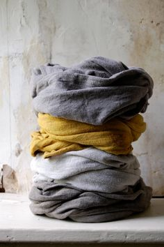 mustard scarf organic cotton hemp jersey naturally by enhabiten, $39.00