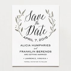 Simple Wreath Save The Date Postcard | Printable Press itismywedding