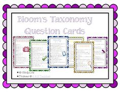 Bloom's Taxonomy question stem cards