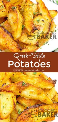 Greek-Style Potatoes - The Midnight BakerYou can find Mediterranean recipes and more on our website.Greek-Style Potatoes - The Midnight Baker Mediterranean Diet Recipes, Mediterranean Dishes, Vegetarian Recipes, Cooking Recipes, Healthy Recipes, Healthy Food, Baker Recipes, Greek Style Potatoes, Greek Dinners