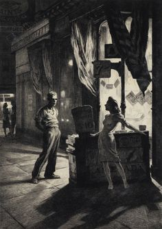 The Naked City, drypoint // by Martin Lewis