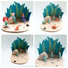 Under the Sea Playscape Play Mat - wool felt storytelling fairytale storybook sea grass blue green whimsical - Dollhouse mermaid ocean by MyBigWorld2015 on Etsy