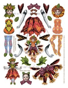 Ideas for your Paper Crafts - Outdoor Click Paper Puppets, Paper Toys, Paper Art, Paper Crafts, Foam Crafts, Vintage Paper Dolls, Doll Parts, Flower Fairies, Printable Designs