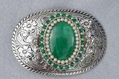 Malachite Western belt buckle, womens,
