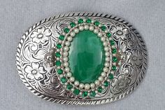 Malachite Western belt buckle, womens,