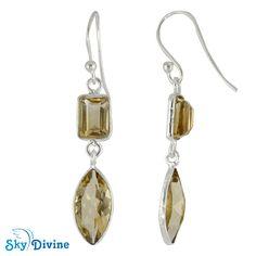925 Sterling Silver Citrine Earring SDER2193 | Sky Divine Jewellery, $43.76