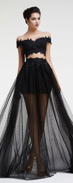 2016 Black Dress Prom Tulle And Lace Off Shoulder Two Pieces Prom Gowns…