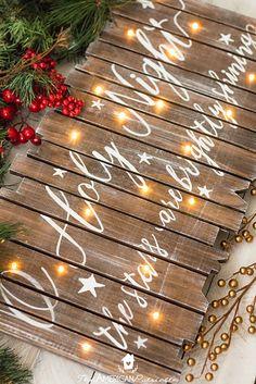 DIY Rustic Light-Up Christmas Sign