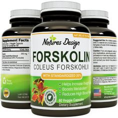 Natures Design Pure Forskolin Extract Weight Loss Supplement Pills for Women & Men, (60 Capsules)