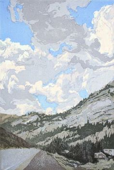 Jennifer Worsley. Canyon with Summer Clouds, 2008. Woodcut. Edition of 20. 17 x 11 inches.