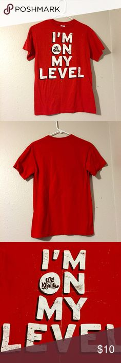 """Hot Topic Wiz Khalifa T Shirt Red Wiz Khalifa t shirt w/ white lettering that reads """"I'm on my level"""". Size small, 100% cotton. Only worn maybe once and in good condition. Hot Topic Tops Tees - Short Sleeve"""