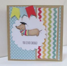 Clever Little Sausage Exam Success Card by thesparklyfairy on Etsy Homemade Cards For Men, Exam Success, Slider Cards, Dog Cards, Congratulations Card, Card Making Inspiration, Cute Cards, Sausage, Clever