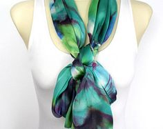 Boho Floral Scarf Satin Silk Scarf Floral Print Scarf Olive Green Shawl Unique Birthday Gift for mom girlfriend Christmas Gift for women