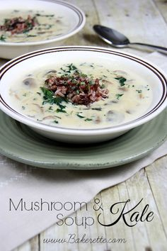 Delicious Hearty and Nutritious Mushroom and Kale Soup. #recipe { bakerette.com } Kale Soup Recipes, Vegetarian Recipes, Creamy Mushrooms, Stuffed Mushrooms, Wild Mushrooms, Mushroom Soup, Choux, Soup And Sandwich, Healthy Soup