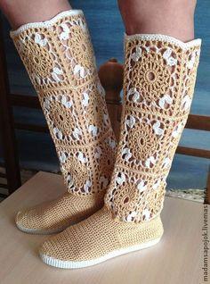 Crochet Slipper Boots, Crochet Boot Cuffs, Crochet Sandals, Knit Shoes, Booties Crochet, Knitted Slippers, Sock Shoes, Knitting Socks, Crochet Flip Flops