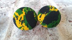 Yellow Green and Black Patterned Fabric Button by LaVieBelle, $4.50