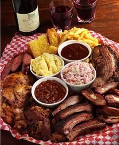 """Since I am a """"Meatatarian"""" the Memphis Blue BBQ House is one of my favourite restaurants. Meat Platter, Food Platters, Food Dishes, I Love Food, Good Food, Yummy Food, Food Network Recipes, Cooking Recipes, Weird Food"""