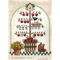 Tole Painting, Painting On Wood, Save Water Poster Drawing, Evans Art, Apple Kitchen Decor, Bird Quilt, Cartoon Painting, Pintura Country, Country Paintings