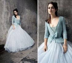 This pale blue #wedding dress is absolutely ballerina inspired! Even the sweet sweater and sash. Just lovely.