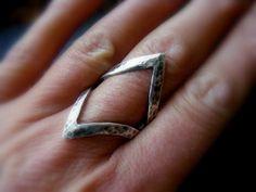 Silver Hammered Chevron Triangle Ring Rustic Chevron