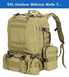 55L Outdoor Military Molle Tactical Backpack Rucksack Camping Bag Travel Hiking - Mud Color. This new backpack made with the principle of human body engineering design of suspension air exchange of bearing system, breathable and comfortable, creating a better travelling, hiking, camping and climbing. This is an ideal and convenient for your outdoor activities Features: 55L with more storage space Popular contracted design, beautiful generous Molle design, molle belt on the front and two...