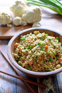 """Cauliflower Fried """"Rice""""Looking to lighten up your Chinese menu for the evening? This cauliflower fried """"rice"""" is right on the money — fast, fresh, and easy, without sacrificing any of those OG flavors!  #refinery29 http://www.refinery29.com/chinese-food-recipes#slide-5"""