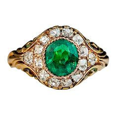 Antique Russian Emerald Diamond Ring c. 1850 | From a unique collection of vintage cluster rings at http://www.1stdibs.com/jewelry/rings/cluster-rings/