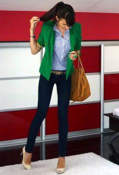 Green Jacket  Blue/White Striped Dress Shirt  Cheetah Belt  Skinny Jeans  Nude Heels
