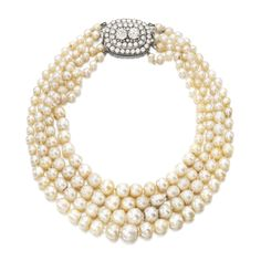 PROPERTY OF AN ITALIAN NOBLE FAMILY Natural pearl, cultured pearl and diamond necklace. Composed of four graduated rows of natural and cultured pearls, the clasp set with circular-cut diamonds.