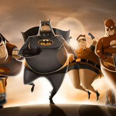 Heroes by Carlos Dattoli. Incredible and BatmanFat Heroes by Carlos Dattoli. Incredible and Batman Batman Robin, Im Batman, Batman Art, Superman, Humor Batman, Funny Batman, Comic Books Art, Comic Art, Illustration Batman