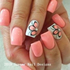 Nail art is one of many ways to boost your style. Try something different for each of your nails will surprise you. You do not have to use acrylic nail designs to have nail art on them. Here are several nail art ideas you need in spring! Cute Summer Nail Designs, Nail Design Spring, Cute Summer Nails, Summer Toenails, Nail Summer, Spring Nail Art, Summer Vacation Nails, Pedicure Summer, Bright Nail Designs