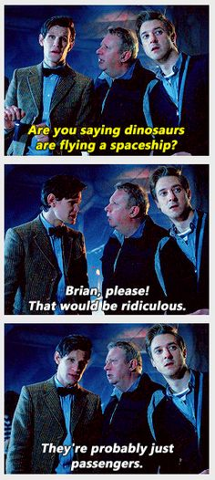 That episode where a spaceship full of dinosaurs is pirated by Filch, who takes captive Queen Nefertiti, who then runs away with Lestrade. And Arthur Weasley drives the spaceship.